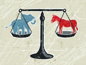 Donkey and Elephant on scales